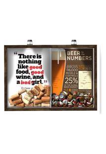 Quadro Caixa 33X43 Cm Porta Rolha Vinho E Tampinha Cerveja (2 Em 1) - Com Led Nerderia E Lojaria Bab Girl E Beer Numbers Madeira