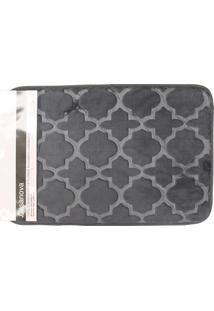 Tapete De Banheiro Em Microfibra 40X60Cm Cinza Flores