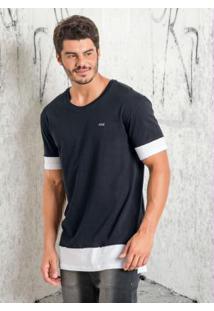 Camiseta Efeito De Sobreposição Preta E Branca