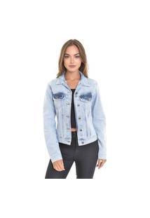 Jaqueta Jeans Dialogo Delavê Com Botões E Puídos