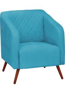 Poltrona Decorativa Silmara Suede Azul Tiffany Pés Palito Condor Drossi