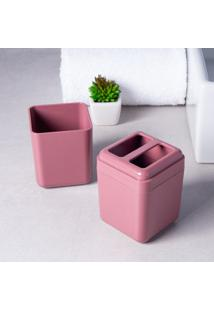 Porta Escova De Dente Com Tampa Para Banheiro Rosa Cube Brinox