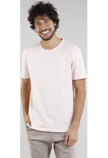 Camiseta Masculina Básica Manga Curta Gola Careca Rosê