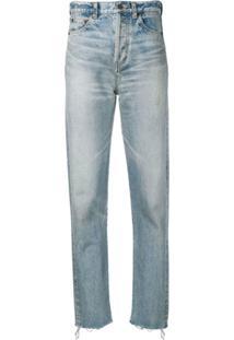 Saint Laurent Calça Jeans Slim Com Acabamento Desfiado - Azul