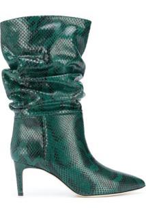 Paris Texas Ankle Boot Com Efeito Pele De Cobra - Verde