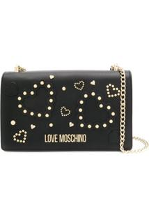 Love Moschino Studded-Heart Shoulder Bag - Preto