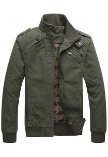 Jaqueta Masculina Slim Military Com Zíper - Verde Exército