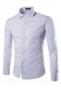 Camisa Social Masculina Slim Manga Longa - Cinza Claro