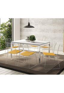 Mesa 1526 Branca Cromada Com 6 Cadeiras 1712 Amarelo Ouro Carraro