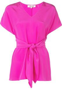 Dvf Diane Von Furstenberg Blusa Lizzie Com Amarração Na Cintura De Seda - Rosa