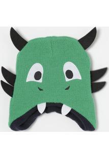 Gorro Dragão Em Tricô- Verde & Pretopuket