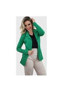 Blazer Feminino Alongado Em Poliamida Verde Bandeira