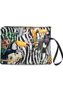 Necessaire Porta Biquíni Em Neoprene Tritengo - Zebra Tucano Floral Zíper Preto - Feminino-Preto