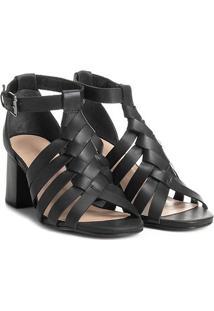Sandália Couro Shoestock Salto Grosso Trança Feminina - Feminino-Preto