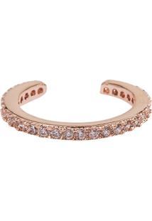 Brinco Piercing Falso The Ring Boutique Cravejado De Zircônias Em Ouro Rosé