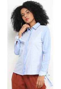 Camisa Disparate Camisa Listrada Feminina - Feminino-Azul