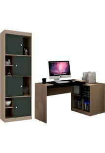 Escrivaninha Com Estante Home Office V Avelã E Ônix