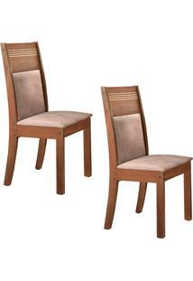 Conjunto Com 2 Cadeiras Ravena Chocolate E Pena