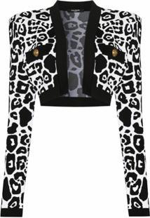 Balmain Cardigan Cropped Com Estampa De Leopardo - Preto