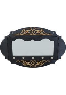 Porta Chaves E Correspondência Crie Casa Oval Preto Com Espelho