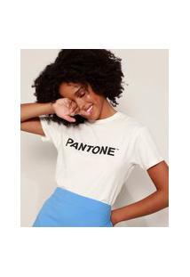 Camiseta Feminina Pantone Manga Curta Decote Redondo Off White