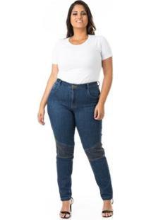 Calça Jeans Cigarrete Com Detalhe Plus Size Confidencial Extra Feminina - Feminino-Azul