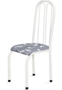 Cadeira Alta 0.112 Anatômica Branco/Cinza Claro Floral - Marcheli