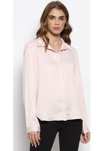 Camisa Acetinada Com Botãµes- Rose- Milioremiliore