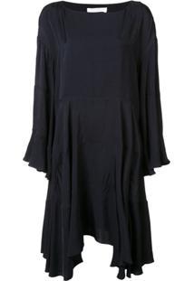 Chloé Vestido Com Babados - Navy