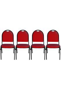 Kit 04 Cadeiras Pethiflex Essencial Hot Fixável Couro Vermelho