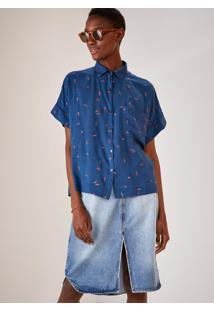Camisa Manga Curta Bordada Seriguela Azul Marinho