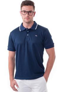 Camisa Polo Vista Mare Malta Slim Fit Azul