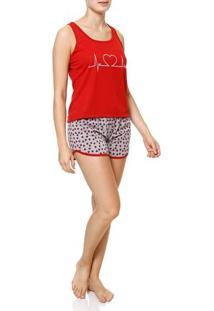 Pijama Curto Feminino Vermelho/Cinza