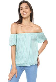 Blusa Cativa Ombro A Ombro Branca/Azul