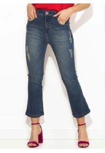 Calça Jeans Cropped Azul