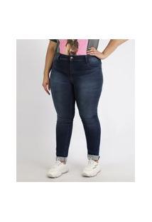 Calça Jeans Feminina Plus Size Sawary Skinny Levanta Bumbum Cintura Alta Azul Escuro