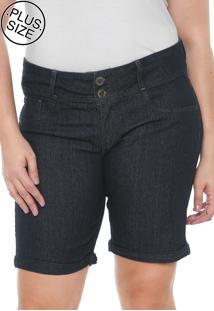 Bermuda Jeans Lunender Mais Mulher Plus Reta Básica Azul