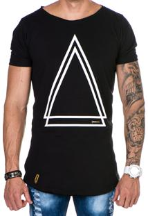 Camiseta Lucas Lunny Oversized Longline Triângulo Preta