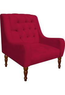 Poltrona Decorativa Maia Suede Vermelho - D'Rossi