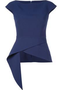 Safiyaa London Blusa Com Bainha Assimétrica - Azul