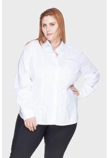 Camisa Acinturada Bold Algodão Com Elastano Plus Size -58 Feminina - Feminino-Branco