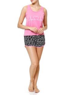 Pijama Curto Feminino Rosa/Preto