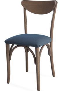 Cadeira Moderna De Madeira Estofada Amélie - Stain Nogueira - Tec.997 Chumbo - 44,5X45X81 Cm