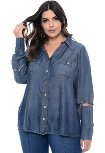 Camisa Forma Rara Jeans Plus Size Passione Azul