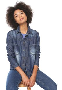 Camisa Jeans Oh Boy Estonada Azul