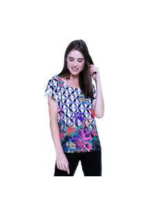 Blusa 101 Resort Wear Tunica Careca Estampada Geometrico Flor