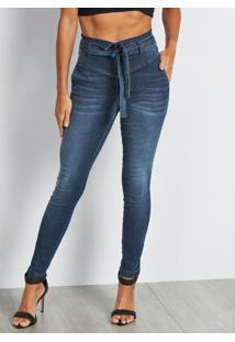 Calça Jeans Cintura Alta Azul