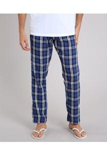 Calça De Pijama Masculina Em Flanela Xadrez Azul Marinho