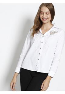 Camisa Com Bordados & Tela - Brancascalon