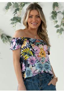 Blusa Soltinha Floral Marinho Com Manguinhas